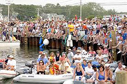 Crowds on the dock